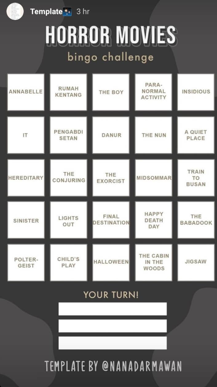 Cara Membuat Template Bingo Instagram Challenge Dirumahaja